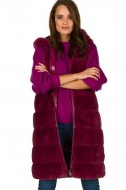 Fracomina | Faux fur waistcoat Miranda | burgundy  | Picture 2