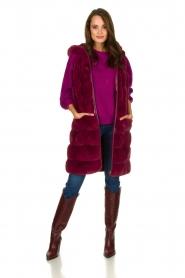Fracomina | Faux fur waistcoat Miranda | burgundy  | Picture 3