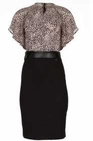Fracomina |  Dress with leopard print Isa | black  | Picture 1