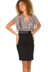 Fracomina |  Dress with leopard print Isa | black  | Picture 5