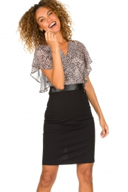 Fracomina |  Dress with leopard print Isa | black  | Picture 4