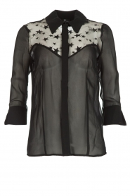 ELISABETTA FRANCHI |  Silk blouse with star embroideries Chiara | black  | Picture 1
