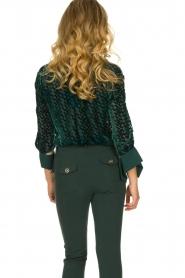 ELISABETTA FRANCHI    Blouse with velvet logo print Jona   green    Picture 6