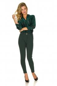 ELISABETTA FRANCHI    Blouse with velvet logo print Jona   green    Picture 3