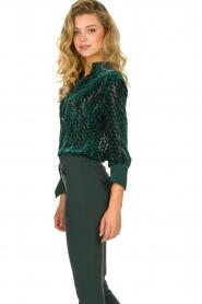 ELISABETTA FRANCHI    Blouse with velvet logo print Jona   green    Picture 5