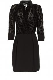 ELISABETTA FRANCHI |  Dress with velvet logo print Vaughn | black  | Picture 1