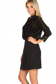 ELISABETTA FRANCHI |  Dress with velvet logo print Vaughn | black  | Picture 4
