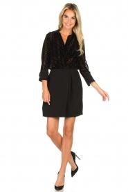 ELISABETTA FRANCHI |  Dress with velvet logo print Vaughn | black  | Picture 3
