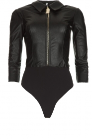 ELISABETTA FRANCHI |  Faux leather body top with zipper Zoella | black  | Picture 1