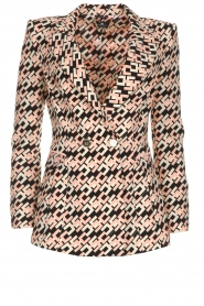 ELISABETTA FRANCHI |  Blazer with logo print Rachel | pink  | Picture 1