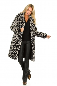 OAKWOOD |  Coat with animal print Wolf  | black & white  | Picture 3