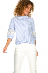 Silvian Heach |  Striped blouse Barmaso | blue  | Picture 2