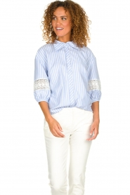 Silvian Heach |  Striped blouse Barmaso | blue  | Picture 4