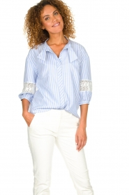 Silvian Heach |  Striped blouse Barmaso | blue  | Picture 7