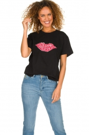 Silvian Heach |  T-shirt with sequin application Ratchaburi | black  | Picture 2