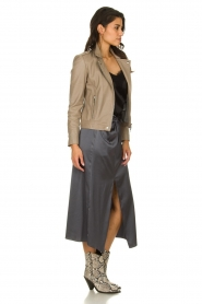 Patrizia Pepe |  Maxi skirt with split Shine | grey black  | Picture 3