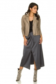 Patrizia Pepe |  Maxi skirt with split Shine | grey black  | Picture 2