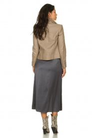 Patrizia Pepe |  Maxi skirt with split Shine | grey black  | Picture 4