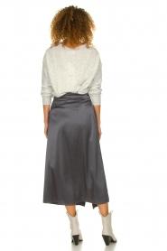 Patrizia Pepe |  Maxi skirt with split Shine | grey black  | Picture 5