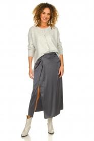 Patrizia Pepe |  Maxi skirt with split Shine | grey black  | Picture 2
