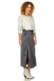 Patrizia Pepe |  Maxi skirt with split Shine | grey black  | Picture 4