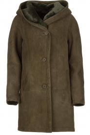 STUDIO AR BY ARMA |  Leather lammy coat Babina | dark green  | Picture 1