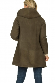 STUDIO AR BY ARMA |  Leather lammy coat Babina | dark green  | Picture 5