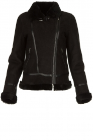 STUDIO AR BY ARMA |  Leather lammy coat Kelly | black  | Picture 1