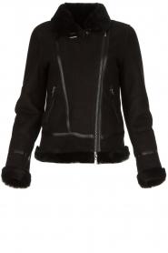 STUDIO AR BY ARMA | Leren lammy coat Kelly | zwart  | Afbeelding 1