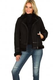 STUDIO AR BY ARMA |  Leather lammy coat Kelly | black  | Picture 4