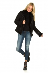 STUDIO AR BY ARMA | Leren lammy coat Kelly | zwart  | Afbeelding 3