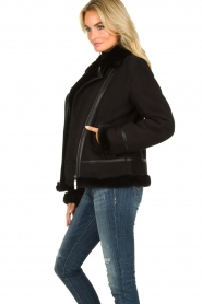 STUDIO AR BY ARMA |  Leather lammy coat Kelly | black  | Picture 5
