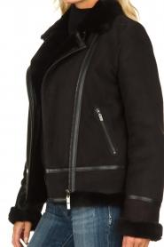 STUDIO AR BY ARMA | Leren lammy coat Kelly | zwart  | Afbeelding 7