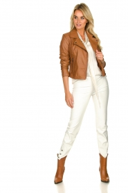 STUDIO AR BY ARMA | Leather biker jacket Lovato | camel  | Picture 3