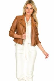 STUDIO AR BY ARMA | Leather biker jacket Lovato | camel  | Picture 6