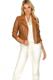 STUDIO AR BY ARMA | Leather biker jacket Lovato | camel  | Picture 2