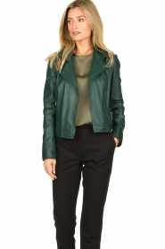 STUDIO AR BY ARMA | Leather biker jacket Lovato | green  | Picture 2
