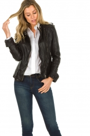 STUDIO AR BY ARMA |  Leather biker jacket Bente | black  | Picture 4