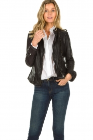 STUDIO AR BY ARMA |  Leather biker jacket Bente | black  | Picture 2