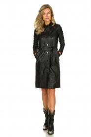 STUDIO AR BY ARMA |  Leather dress Diana | zwart  | Picture 3