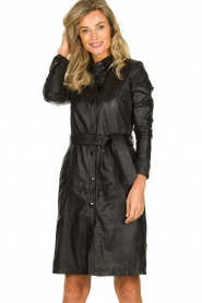 STUDIO AR BY ARMA |  Leather dress Diana | zwart  | Picture 2