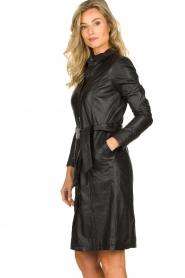STUDIO AR BY ARMA |  Leather dress Diana | zwart  | Picture 4