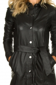 STUDIO AR BY ARMA |  Leather dress Diana | zwart  | Picture 6