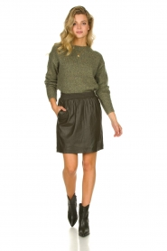 STUDIO AR BY ARMA | Leather skirt Myrte | green  | Picture 3