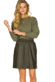STUDIO AR BY ARMA | Leather skirt Myrte | green  | Picture 2
