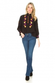 Lois Jeans |  L32 Flared jeans Melrose - Leia teal wash | dark blue  | Picture 4