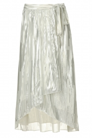 IRO | Skirt with lurex stripes Dori | metallic white  | Picture 1
