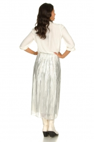 IRO | Skirt with lurex stripes Dori | metallic white  | Picture 4