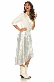 IRO | Skirt with lurex stripes Dori | metallic white  | Picture 5