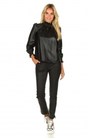 Arma |  Leather stretch leggings Chatou | black  | Picture 3